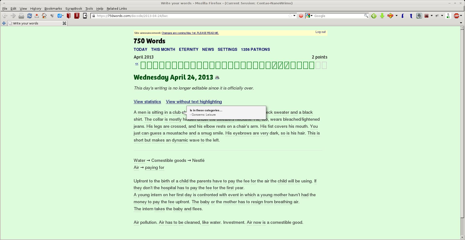 750 Words - Linguistische Auswertung