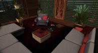 Das Bild zeigt einen Bereich in der Virtuellen Welt Second Life, der wie ein Wohnzimmer eingerichtet ist. Umgeben von einer Couch , einem Sessel, einem Couchtisch und einigen Pflanzen sitzt eine Person auf einem Kissen auf dem Fußboden, vor einem Laptop und schreibt.